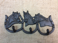 Triple Horse Shoe Coat Hook